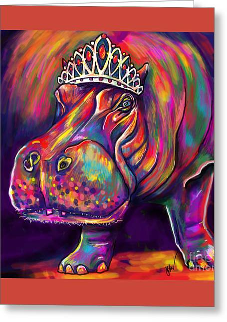 Hippopotamus Digital Greeting Cards - Tiara Greeting Card by Julianne Black
