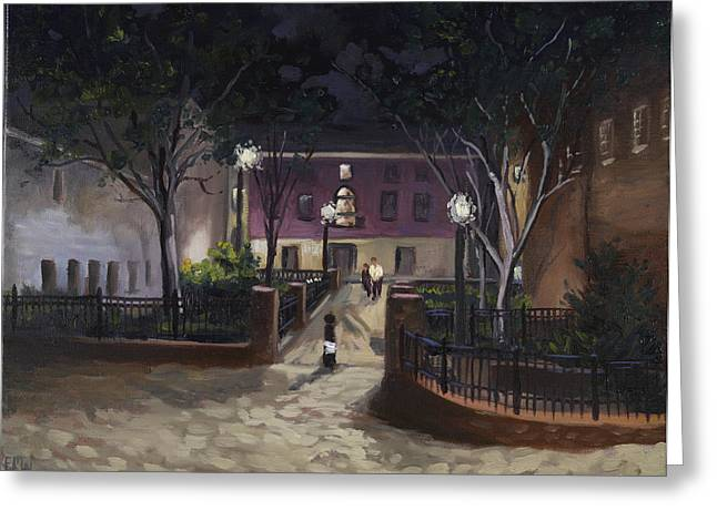 Edward Williams Greeting Cards - Tiber Park at night Greeting Card by Edward Williams