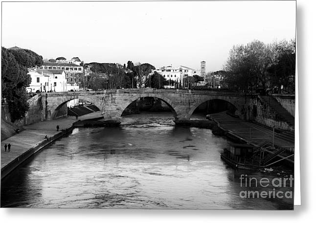 Trastevere Greeting Cards - Tiber River Greeting Card by John Rizzuto