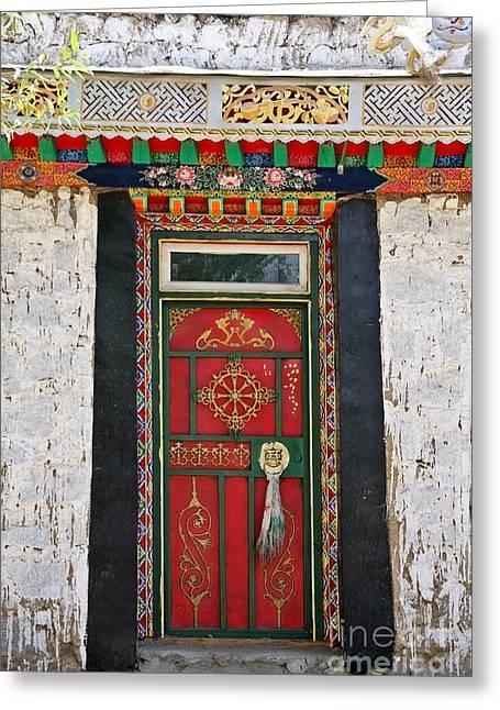 Tsedang Greeting Cards - Tibet Red Door Greeting Card by Kate McKenna