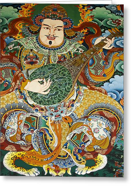 Tibetan Buddhist Mural Greeting Card by Michele Burgess