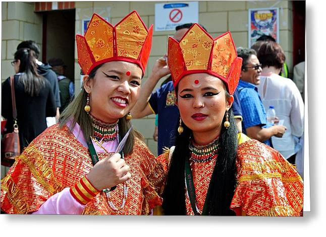 Tibetan Buddhism Greeting Cards - Tibetan dancers Greeting Card by Laure Petit