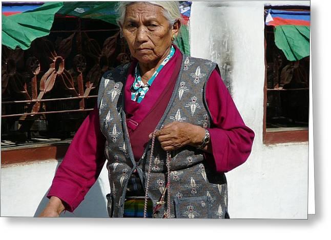 Tibetan Grandmother In Meditation Greeting Card by Dagmar Batyahav