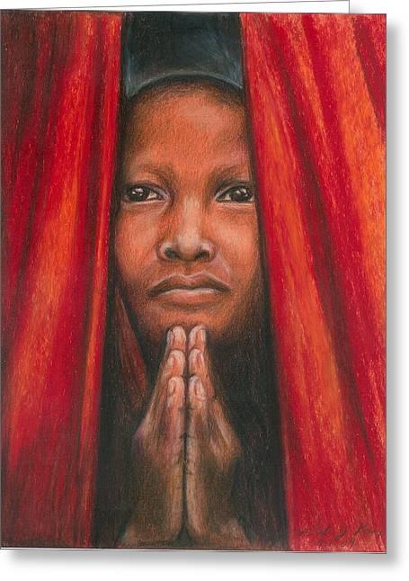 Praying Hands Drawings Greeting Cards - Tibetan Prayer Greeting Card by Linda Nielsen