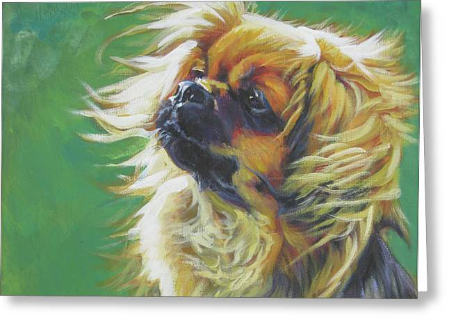 Tibetan Spaniel and cabbage white butterfly Greeting Card by Lee Ann Shepard