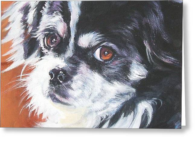 Tibetan Greeting Cards - Tibetan Spaniel Greeting Card by Lee Ann Shepard