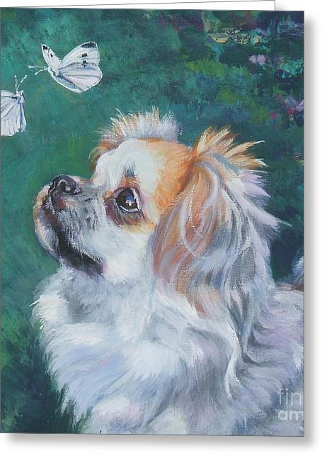 Tibetan Portrait Greeting Cards - Tibetan Spaniel with butterfly Greeting Card by Lee Ann Shepard
