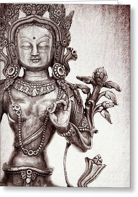 Tibetan Tara Greeting Card by Tim Gainey