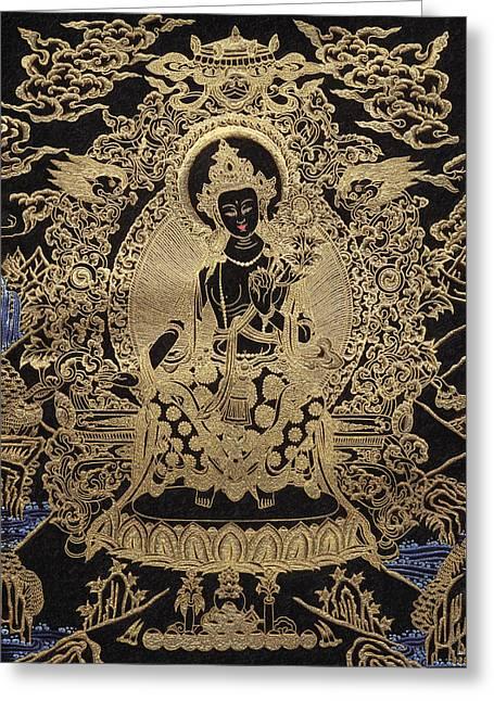 Thangka Greeting Cards - Tibetan Thangka  - Maitreya Buddha Greeting Card by Serge Averbukh