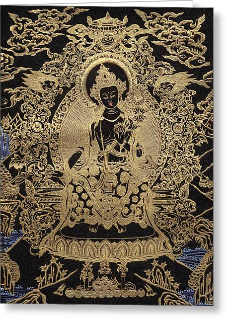 Tibetan Buddhism Greeting Cards - Tibetan Thangka  - Maitreya Buddha Greeting Card by Serge Averbukh