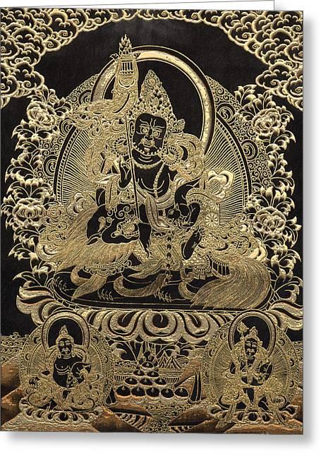 Tibetan Buddhism Greeting Cards - Tibetan Thangka - Vaishravana - God of Wealth and Regent of the North Greeting Card by Serge Averbukh