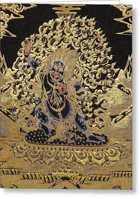Tibetan Buddhism Greeting Cards - Tibetan Thangka - Vajrapani - Protector and Guide of Gautama Buddha Greeting Card by Serge Averbukh