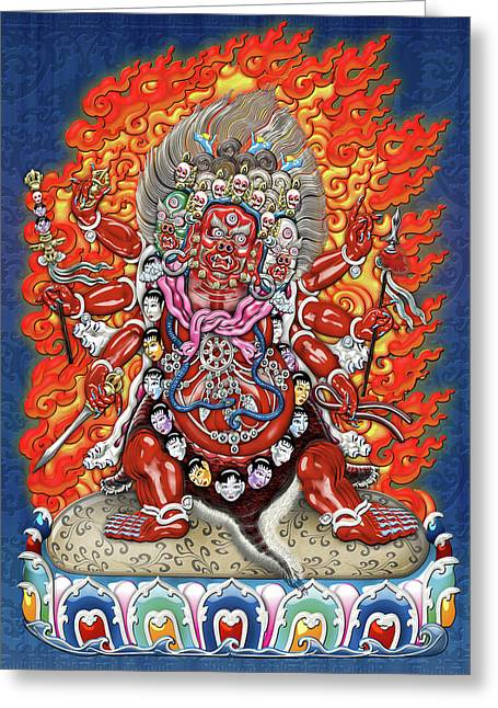 Tibetan Thangka  - Wrathful Deity Hayagriva Greeting Card by Serge Averbukh