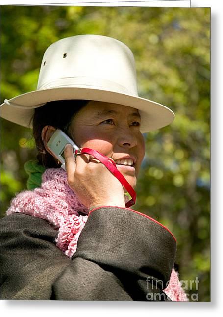 Tibetan Woman Greeting Cards - Tibetan Woman Greeting Card by Inga Spence