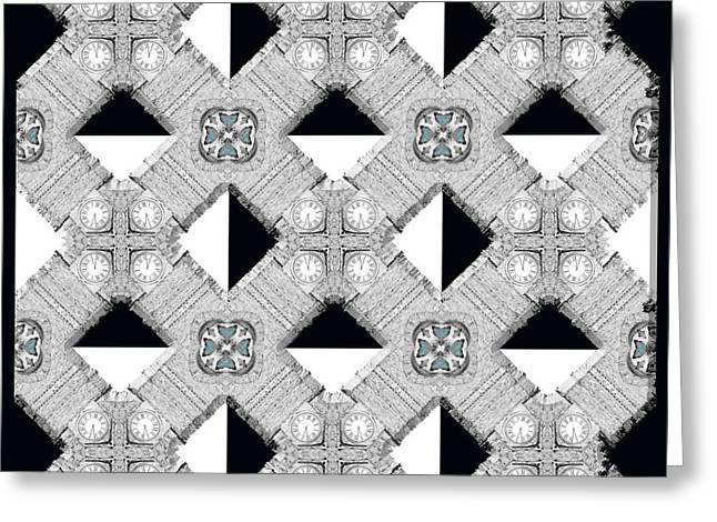 Geometrical Art Greeting Cards - Tick Tock Greeting Card by Naomi Tebbs