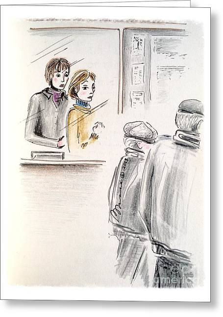Concern Drawings Greeting Cards - Ticket Booth Greeting Card by Barbara Chase