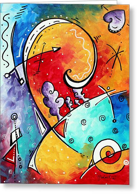 Yellow Abstract Art Greeting Cards - Tickle My Fancy Original Whimsical Painting Greeting Card by Megan Duncanson