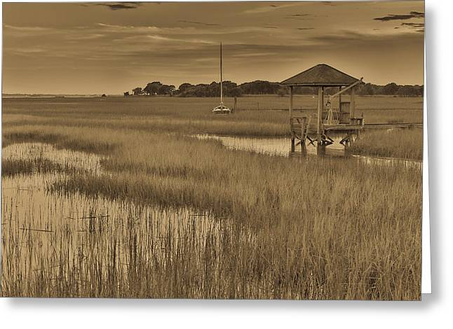 Horizen Greeting Cards - Tidal Creek Antique - Mt. Pleasant SC Greeting Card by Donnie Whitaker
