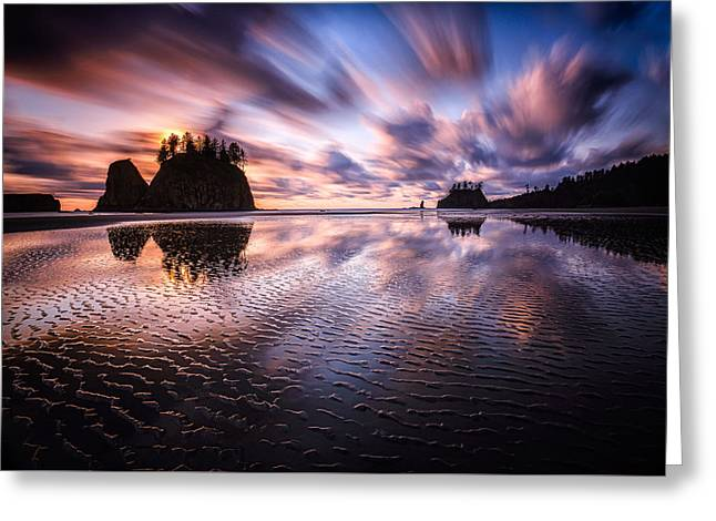 Sand Pattern Greeting Cards - Tidal Reflection Serenity Greeting Card by Mark Robert Rogers