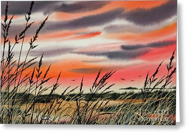 Sunset Greeting Cards Paintings Greeting Cards - Tideland Sunset Greeting Card by James Williamson