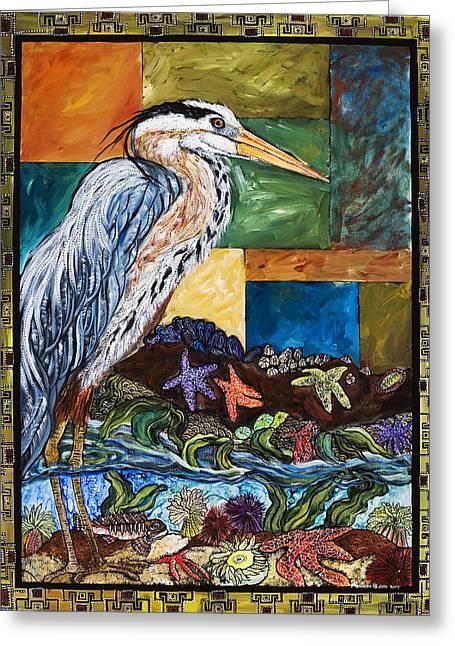 Tidepool Heron Greeting Card by Melissa Cole