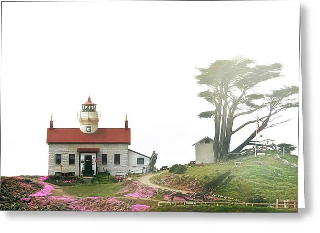 Waterscape Greeting Cards - Tides of Battery Point Lighthouse - Northern CA Greeting Card by Christine Till