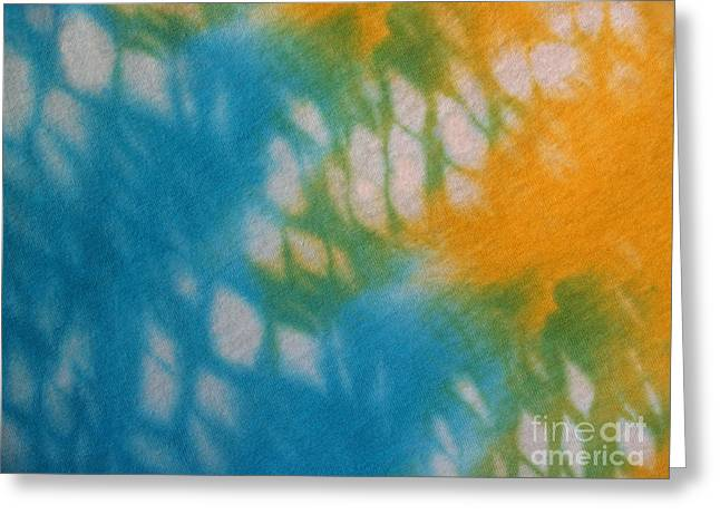 Tie Dye In Yellow Aqua And Green Greeting Card by Anna Lisa Yoder