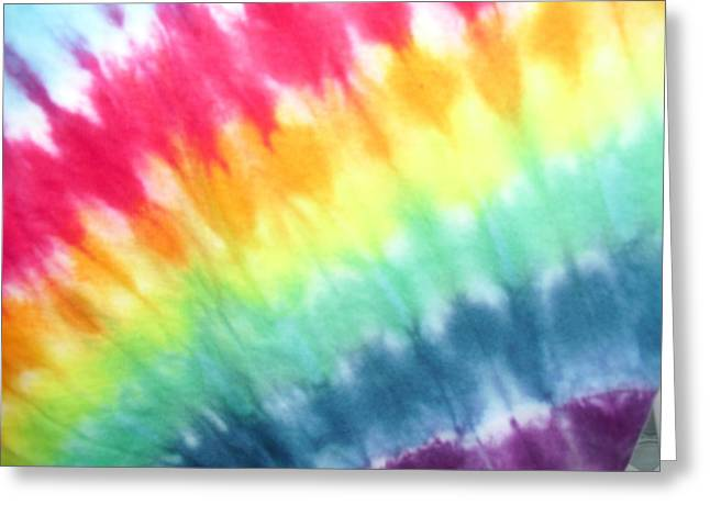 Violet Blue Tapestries - Textiles Greeting Cards - Tie Dye Rainbow Greeting Card by Pam Klein