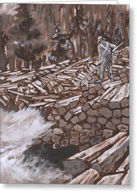 Western Tie Greeting Cards - Tie Hack historical vignette from River Mural Greeting Card by Dawn Senior-Trask