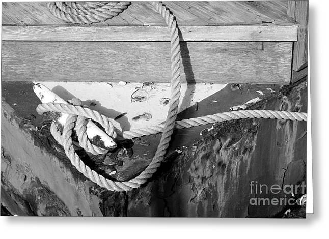 Davit Greeting Cards - Tied to the Dock Greeting Card by Robert Wilder Jr