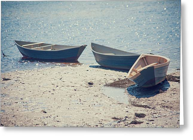 Row Boat Greeting Cards - Tied Together Greeting Card by Karol  Livote