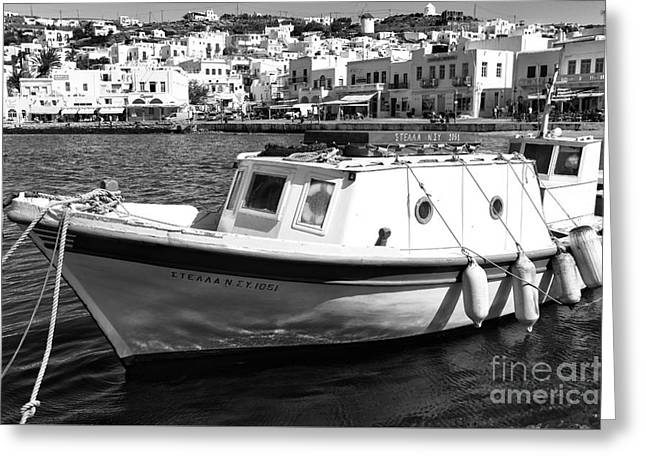 Tied Up In Mykonos Town Mono Greeting Card by John Rizzuto