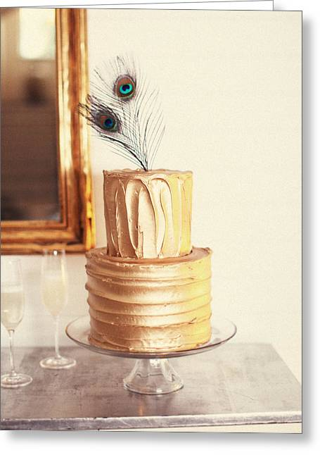 Cakes Greeting Cards - Tiered Cake With Peacock Feathers On Top Greeting Card by Gillham Studios
