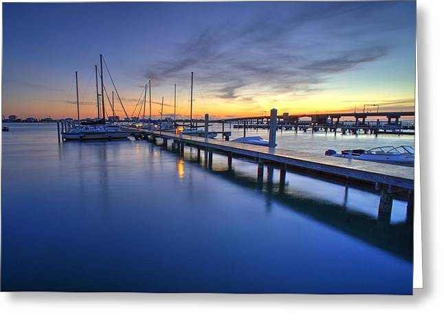 Docked Sailboats Greeting Cards - Tierra Verde Marina Sunrise Greeting Card by Joey Waves
