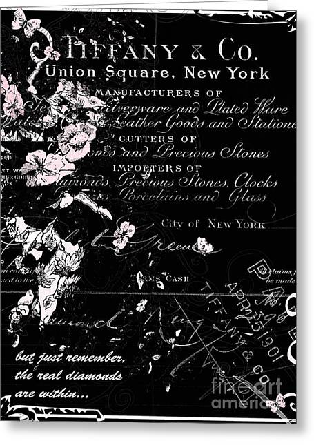 Union Square Greeting Cards - Tiffany Vintage Calligraphy Print Greeting Card by AdSpice Studios