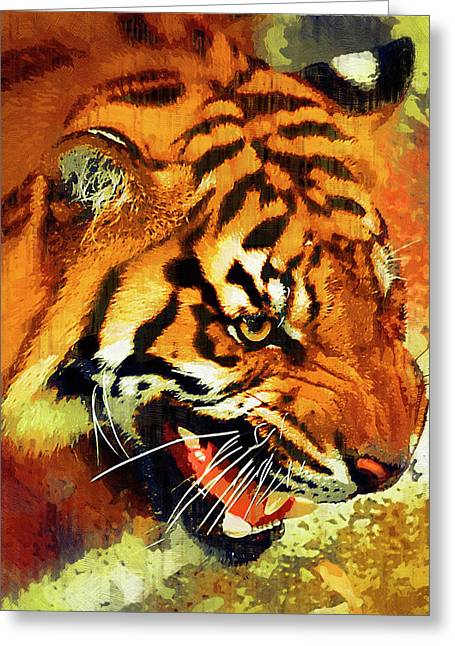 Growling Greeting Cards - Tiger at Waterhole Greeting Card by Clarence Alford