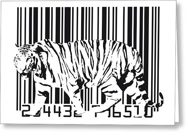 Tigers Greeting Cards - Tiger Barcode Greeting Card by Michael Tompsett