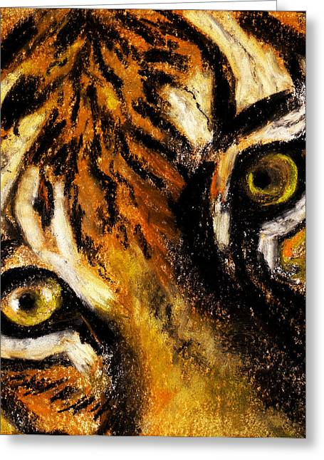Cat Prints Pastels Greeting Cards - Tiger by Rashmi Rao Greeting Card by Rashmi Rao