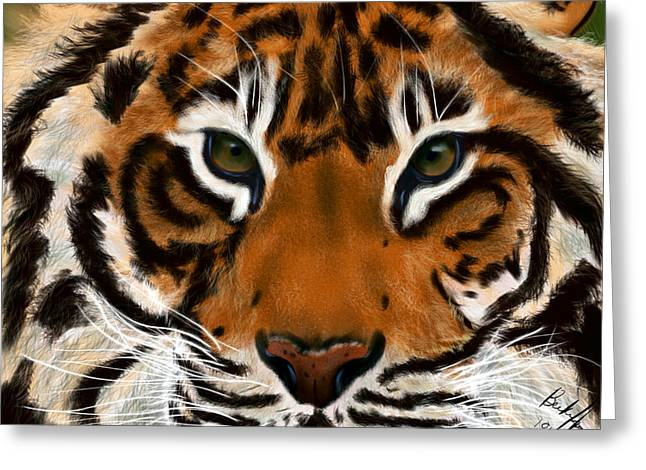 Becky Greeting Cards - Tiger Eyes Greeting Card by Becky Herrera