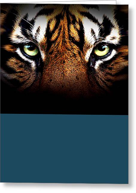 Watercolor Tiger Greeting Cards - Tiger Eyes Greeting Card by Robert Foster