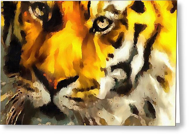 On The Beach Greeting Cards - Tiger Fragmented In Thick Paint Greeting Card by Catherine Lott