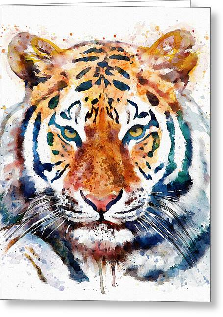 Carnivore Greeting Cards - Tiger Head watercolor Greeting Card by Marian Voicu