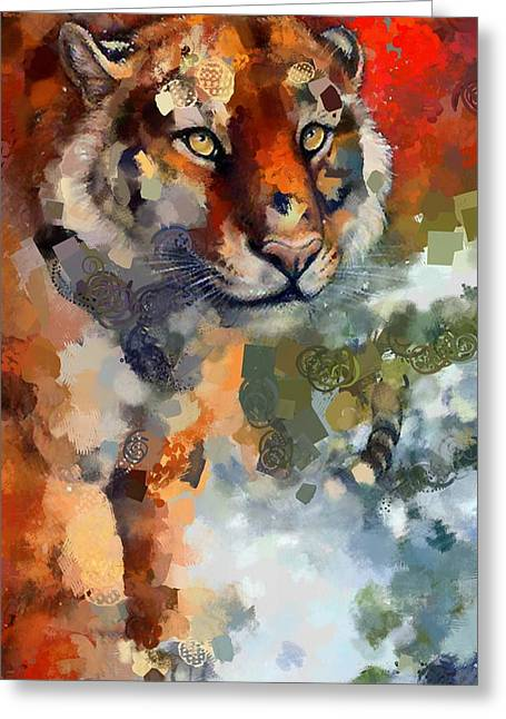 The Tiger Greeting Cards - Tiger Hotty Totty Style Greeting Card by Catherine Lott