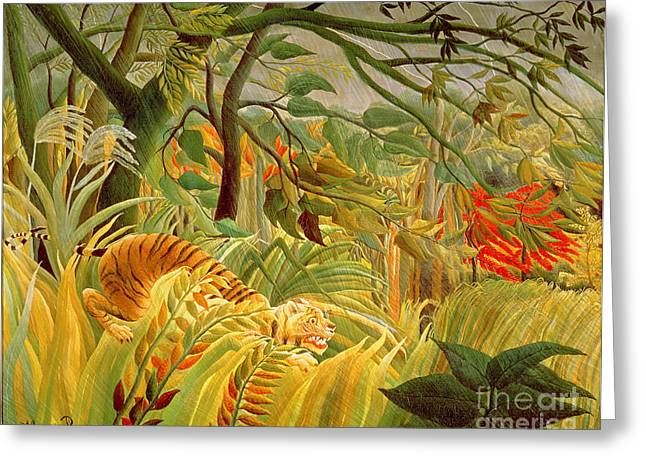 Surprise Greeting Cards - Tiger in a Tropical Storm Greeting Card by Henri Rousseau