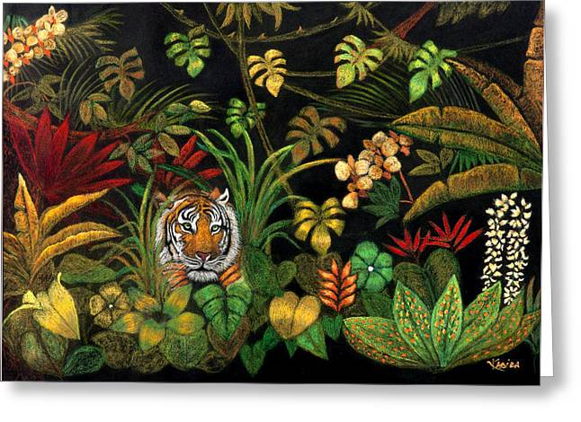 The Tiger Pastels Greeting Cards - Tiger in the Forest Greeting Card by Kabira Lyon