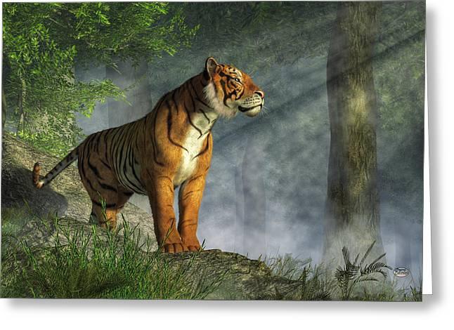 Tiger In The Light Greeting Card by Daniel Eskridge