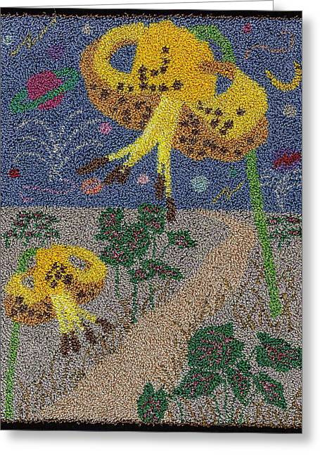 Primitive Tapestries - Textiles Greeting Cards - Tiger Lilly Galaxy Greeting Card by Jan Schlieper