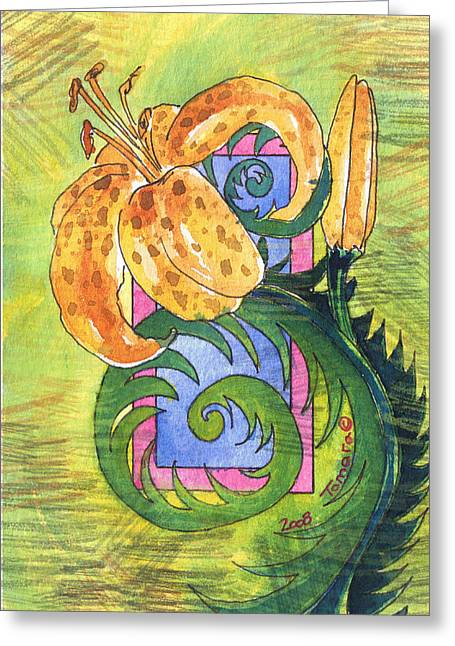Day Lilly Paintings Greeting Cards - Tiger Lilly Greeting Card by Tamara Kulish