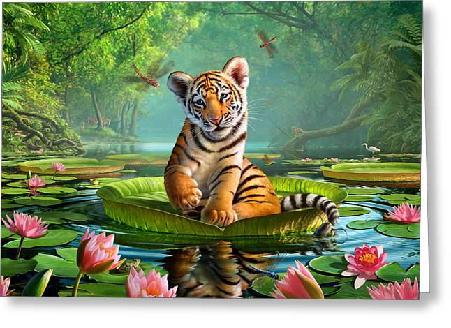 Tigers Digital Greeting Cards - Tiger Lily Greeting Card by Jerry LoFaro