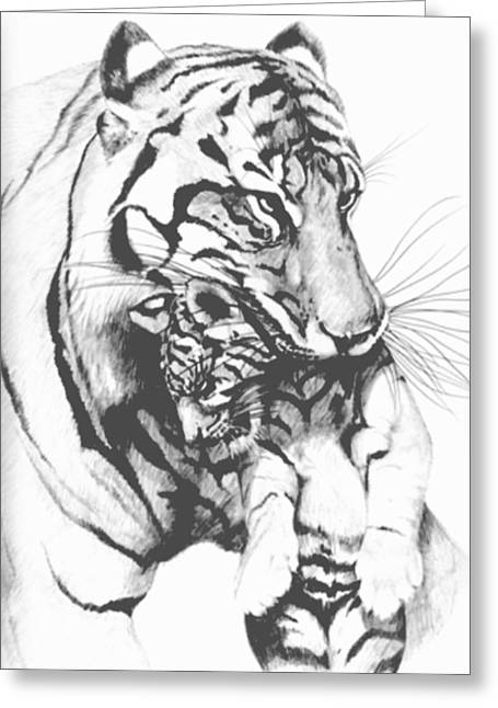 Tiger Mom Greeting Card by Bob Patterson